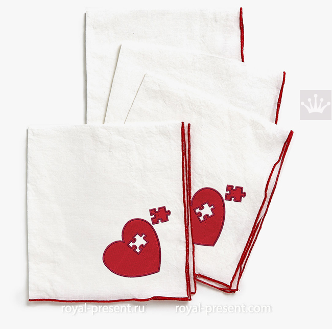 Puzzle Heart Machine Embroidery Design RPE-1633