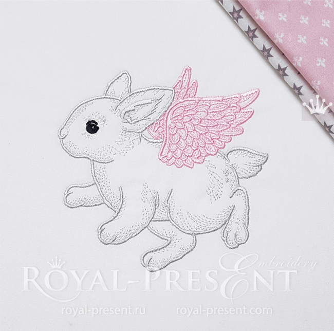 Angel Bunny Embroidery Design - 4 sizes RPE-1636