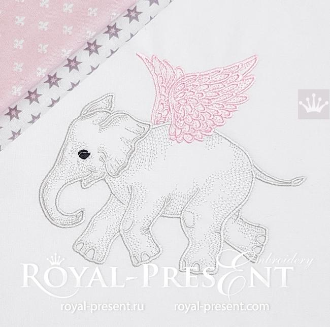 Angel Baby Elephant Embroidery Design - 5 sizes RPE-1637