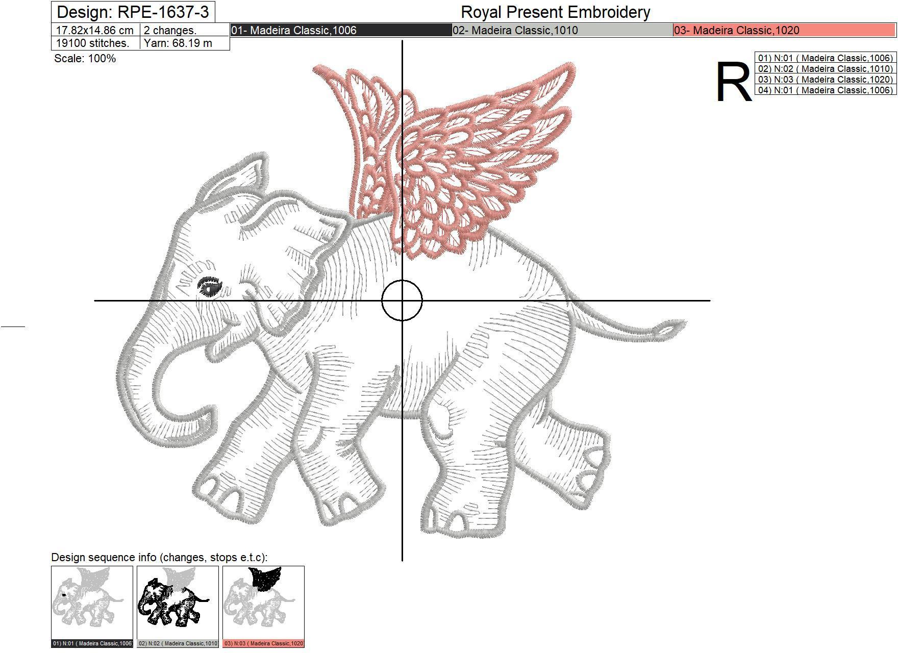 Angel Baby Elephant Embroidery Design - 5 sizes