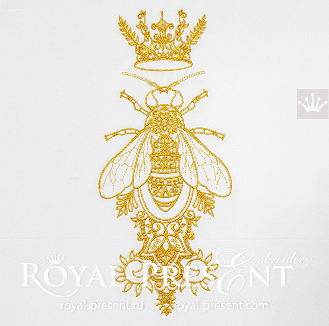 Ornamental Queen Bee Embroidery Design - 5 sizes