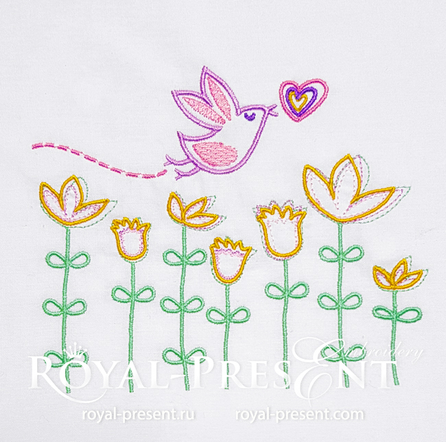 Flying Bird Machine Embroidery Design - 4 sizes