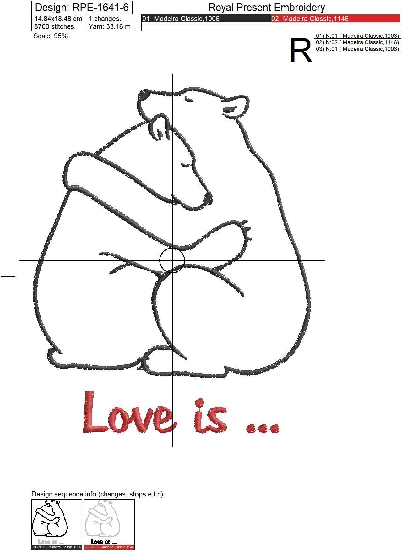 Bears in love Embroidery Design - 7 sizes