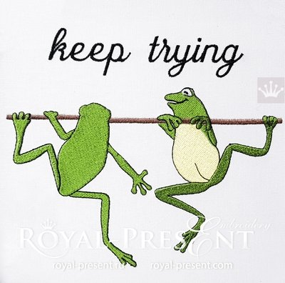 Frogs Machine Embroidery Design - 2 sizes