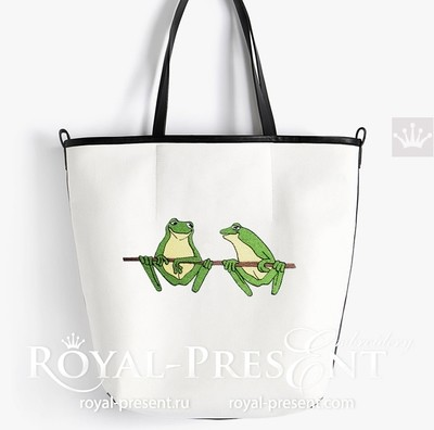 Two Frogs Embroidery Design - 2 sizes