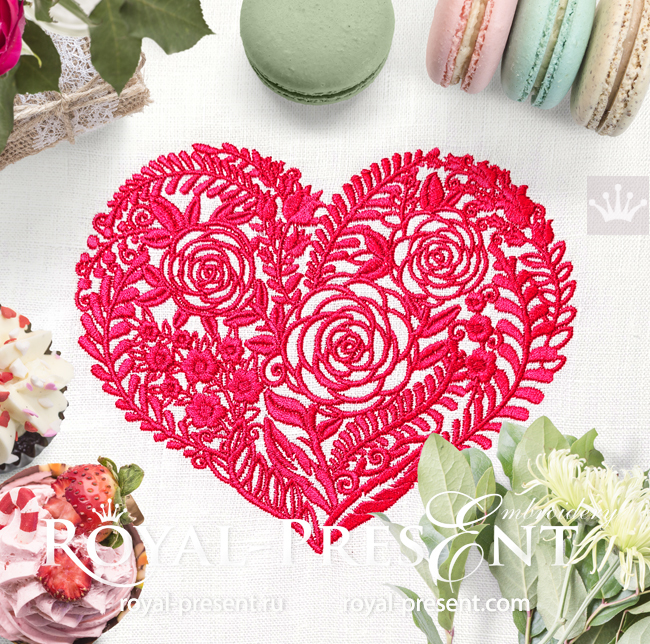 Flower Heart Machine Embroidery Design - 5 sizes RPE-1655