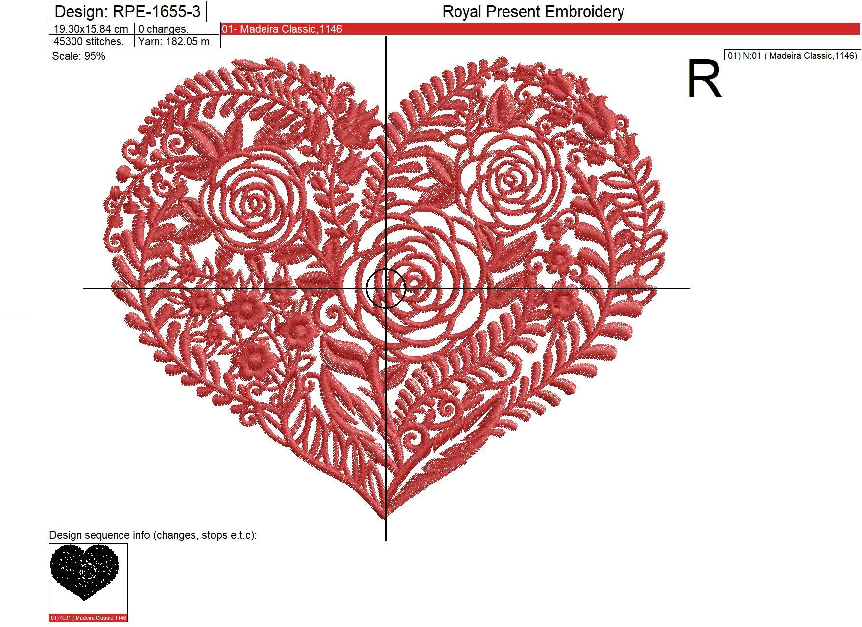 Flower Heart Machine Embroidery Design - 5 sizes