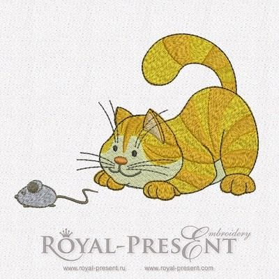 Machine Embroidery Design - Cat & Mouse