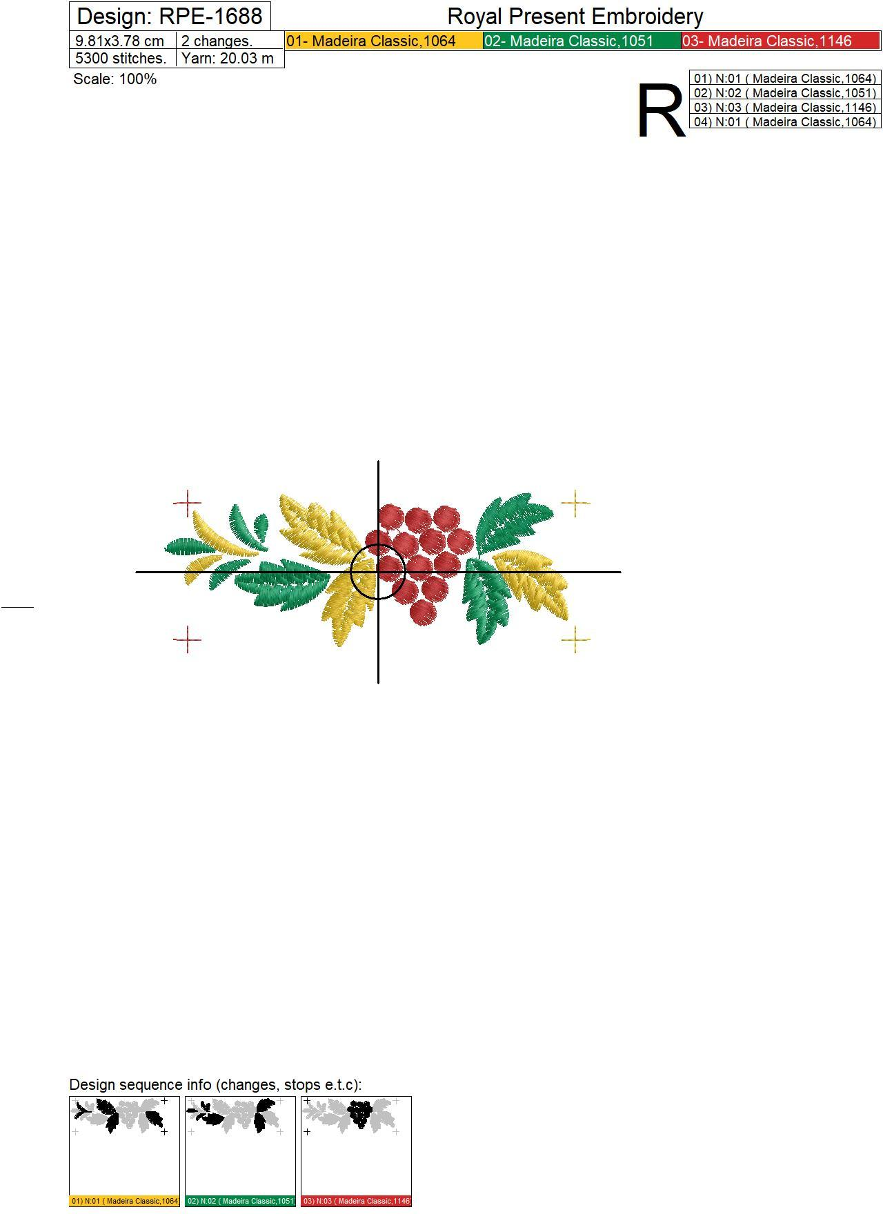 Khokhloma Border with rowan Embroidery Design - 4 sizes