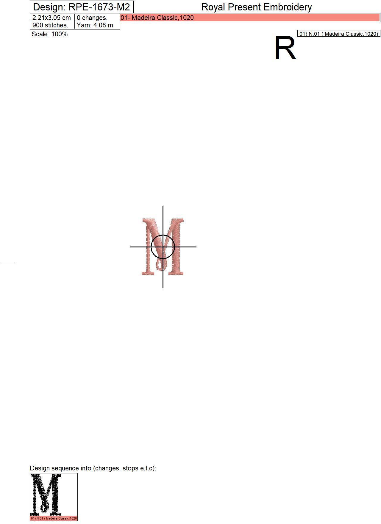 Capital Letter M Embroidery design V2