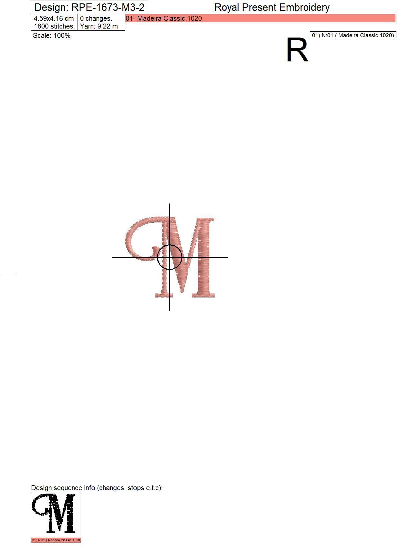 Capital Letter M Embroidery design V3