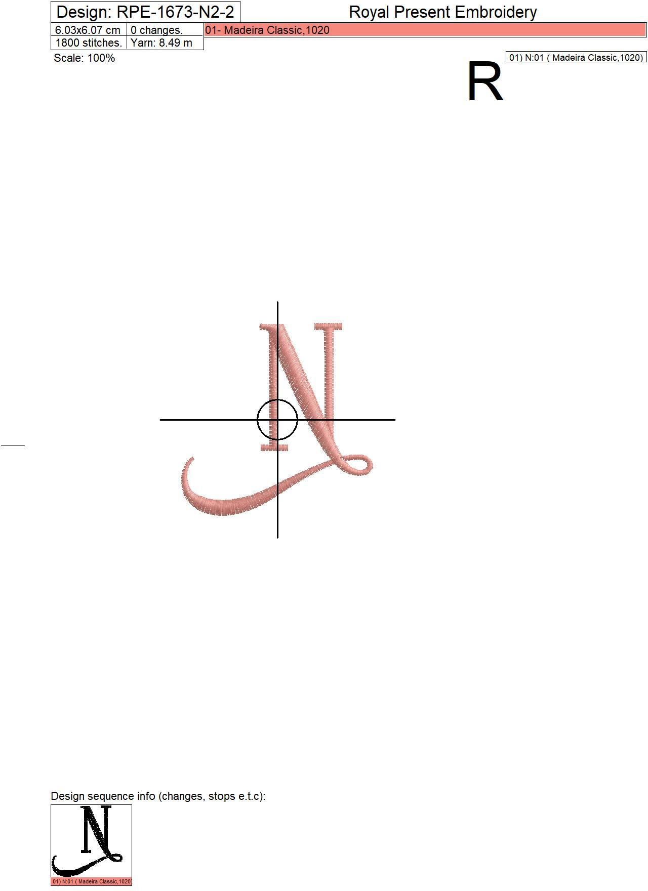 Capital Letter N Embroidery design V2