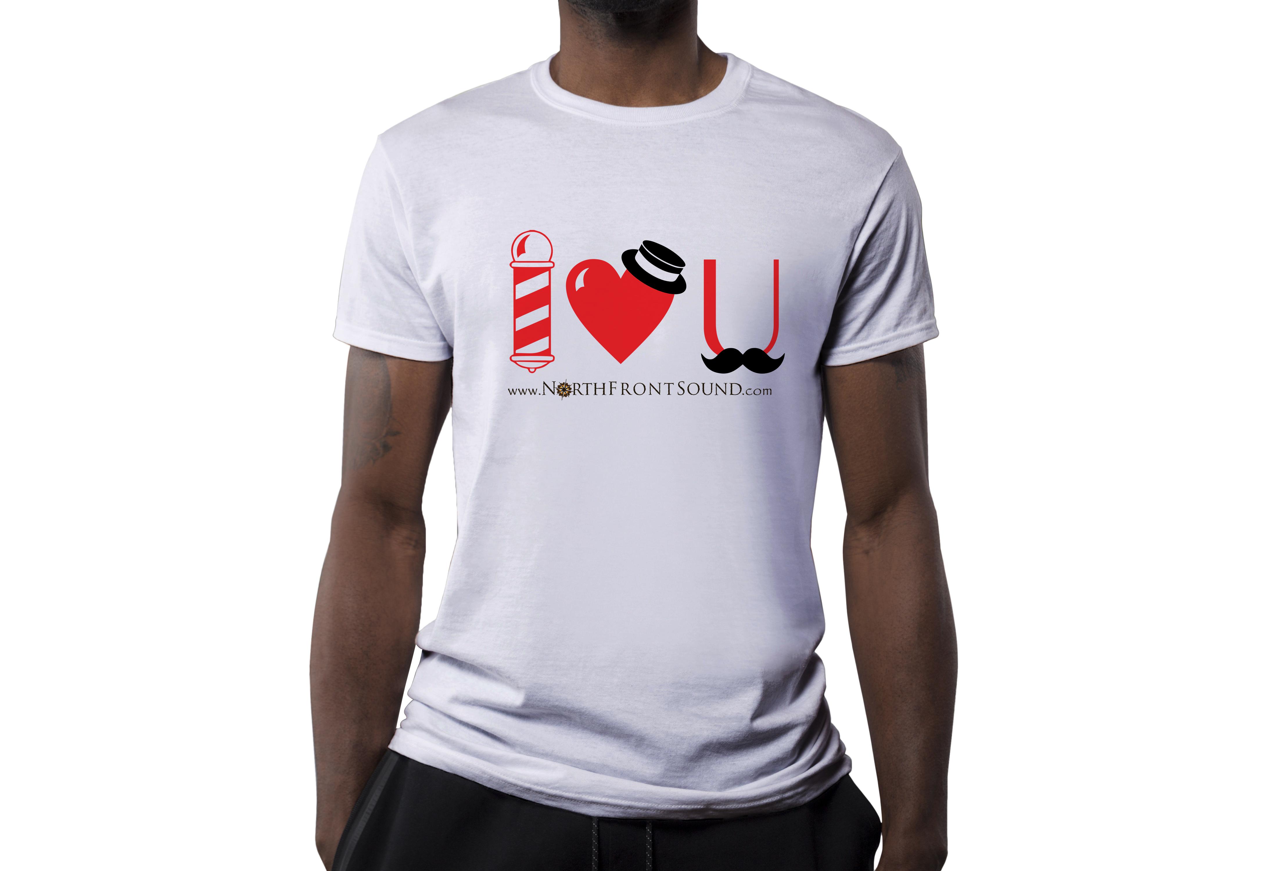 "Men's ""I Heart U"" Barbershop T-Shirt - White T01MWHIHU"