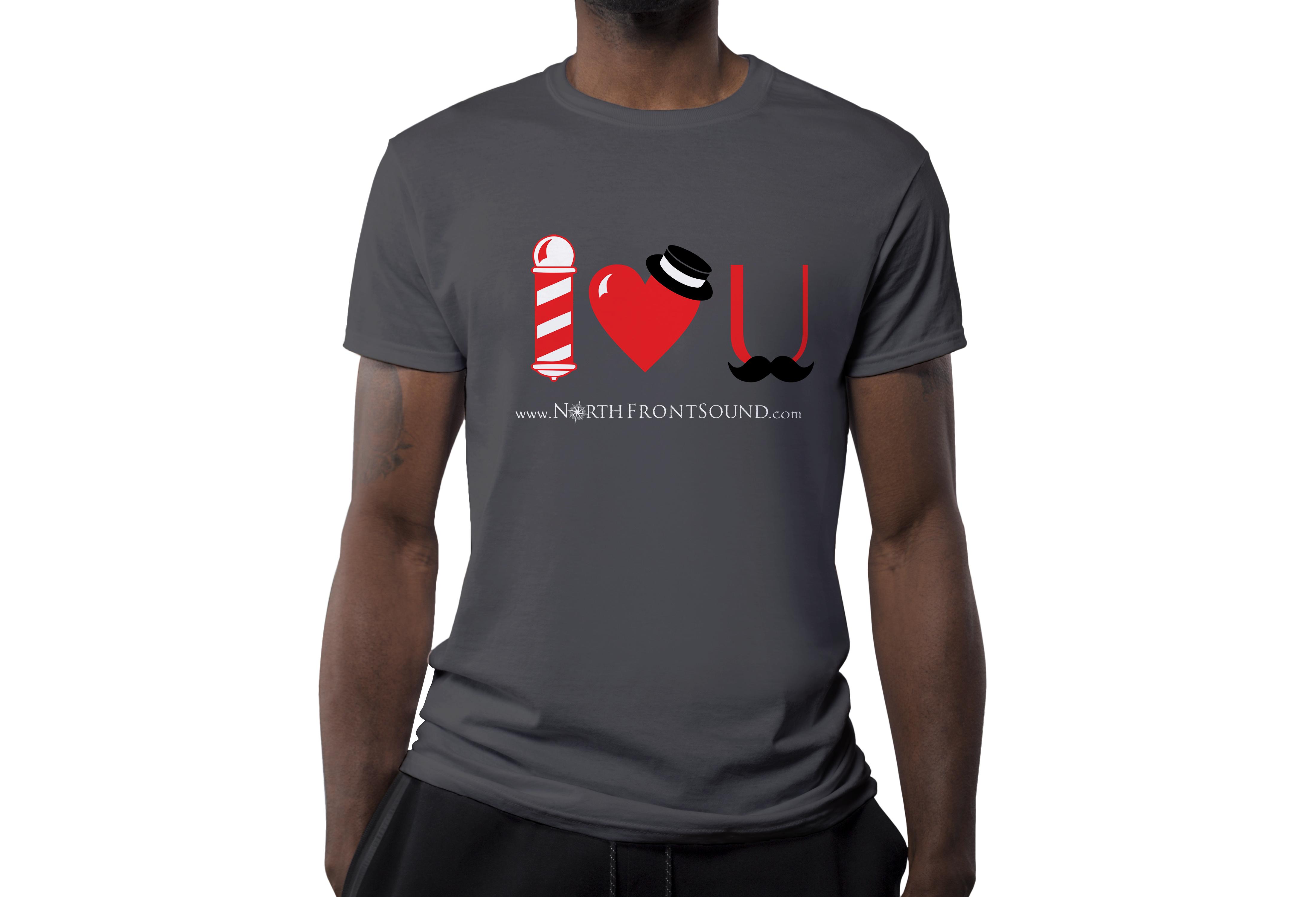 "Men's ""I Heart U"" Barbershop T-Shirt - Dark Gray T01MDGIHU"