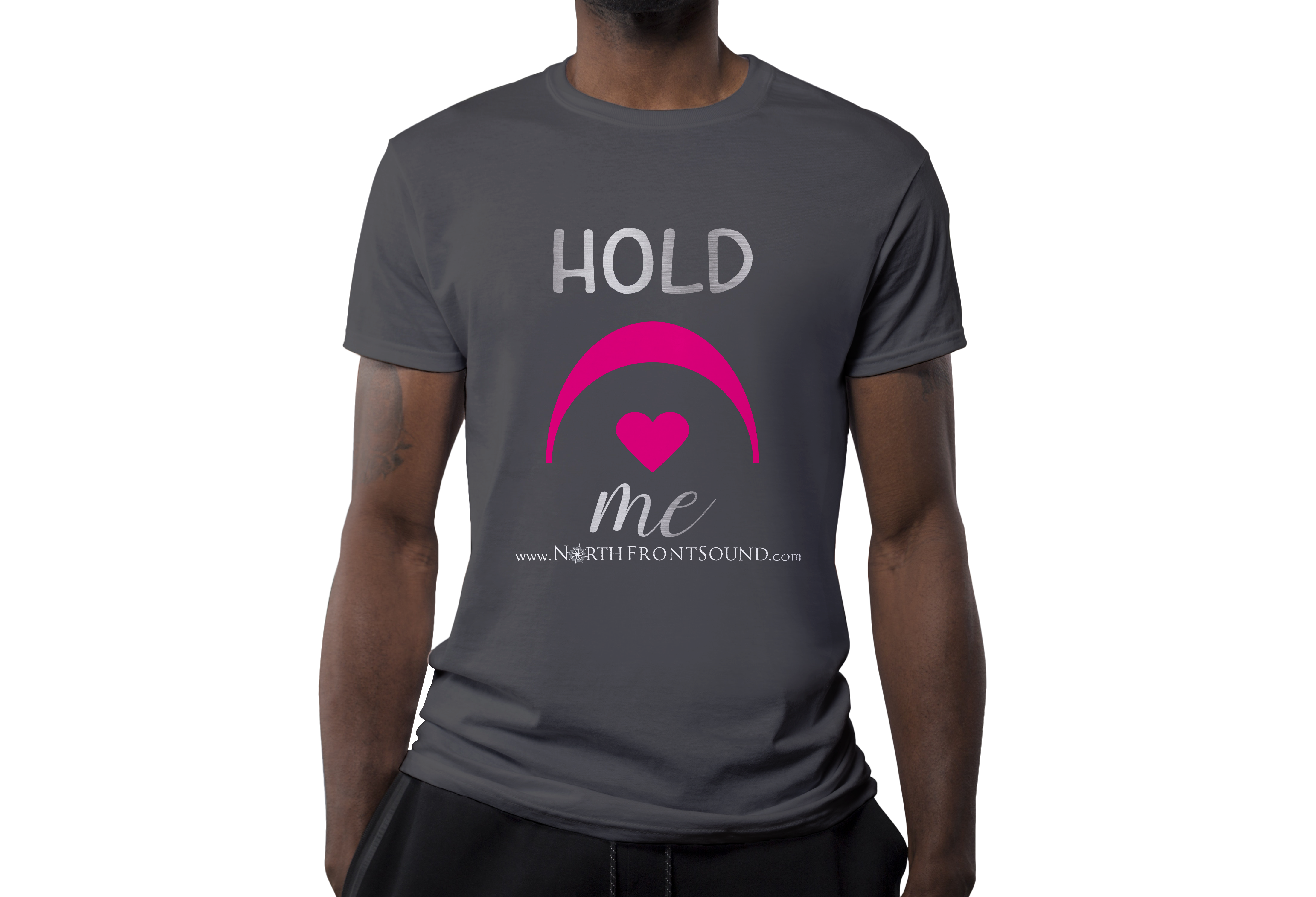 "Men's ""Hold Me"" T-Shirt - Dark Gray T04MDGHLDME"