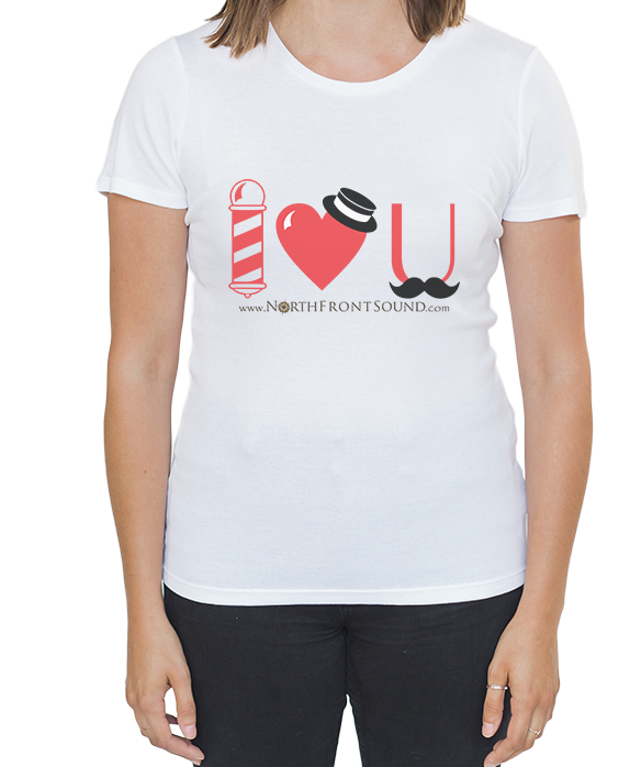 "Women's ""I Heart U"" Barbershop T-Shirt - White T01WWHIHU"