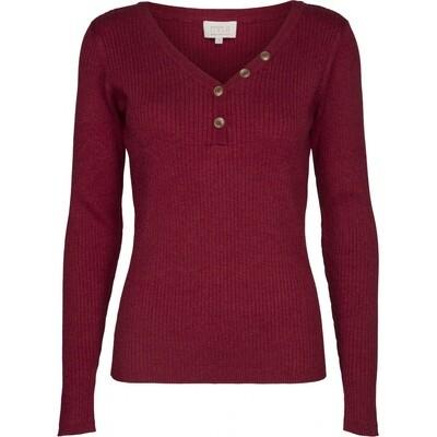 Jolan knit Ls tee-Rio red melange