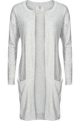 Sara long cardigan light grey melange
