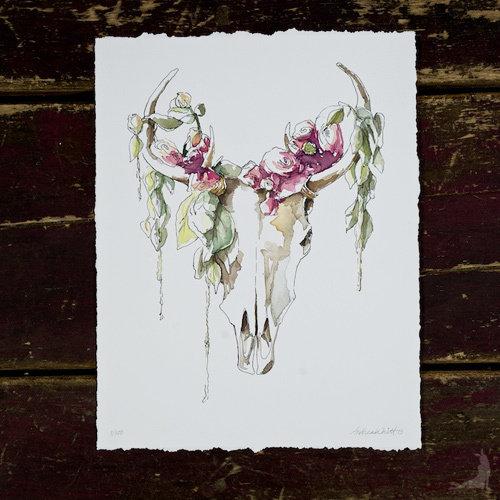 Mythical Skull & Fleurs Giclée 00006