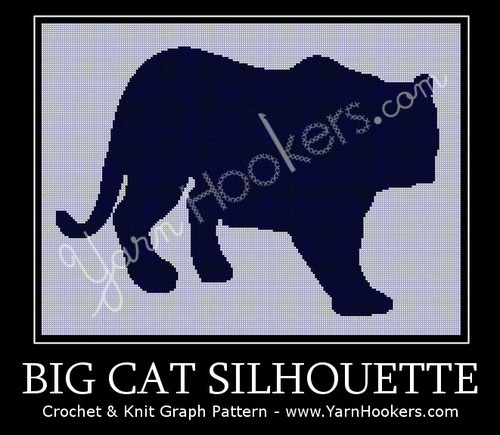 Big Cat Silhouette - Afghan Crochet Graph Pattern Chart by Yarn Hookers
