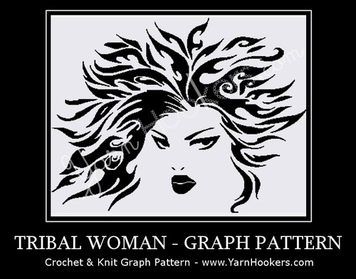 Celtic Tribal Woman - Afghan Crochet Graph Pattern Chart by Yarn Hookers.com
