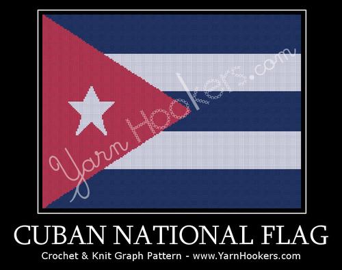 Cuban National Flag -  Afghan Crochet Graph Pattern Chart by Yarn Hookers.com
