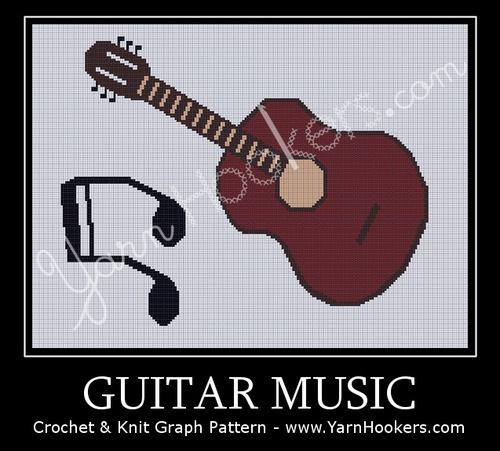 Guitar Music - Afghan Crochet Graph Pattern Chart by Yarn Hookers.com