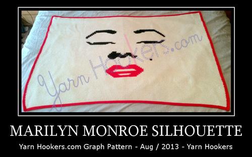 Marilyn Monroe Silhouette - Afghan Crochet Graph Pattern Chart by Yarn Hookers.com