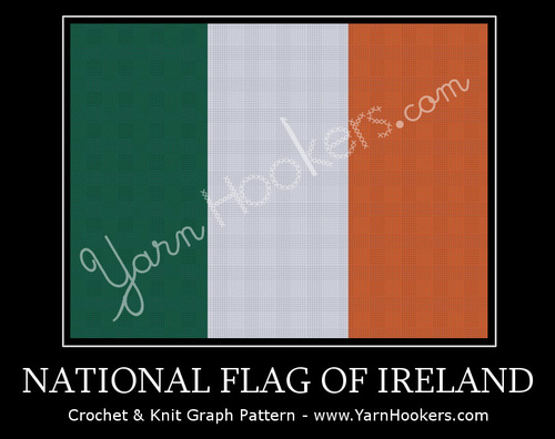 National Flag of Ireland - Afghan Crochet Graph Pattern Chart by Yarn Hookers.com