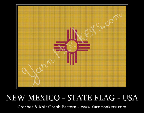 New Mexico - State Flag - USA - Afghan Crochet Graph Pattern Chart by Yarn Hookers.com