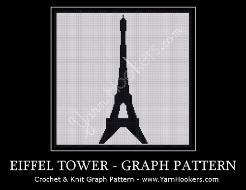 Paris Eiffel Tower - Afghan Crochet Graph Pattern Chart by Yarn Hookers.com
