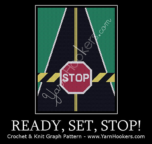 Ready, Set, STOP!! - Afghan Crochet Graph Pattern Chart by Yarn Hookers.com