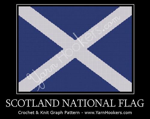 Scotland National Flag - Afghan Crochet Graph Pattern Chart by Yarn Hookers.com