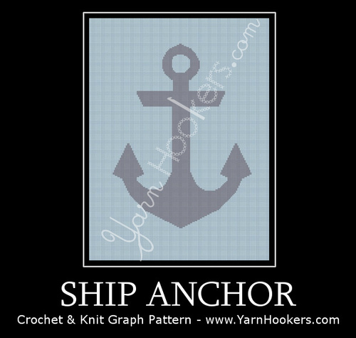 Ship Anchor - Afghan Crochet Graph Pattern Chart by Yarn Hookers.com