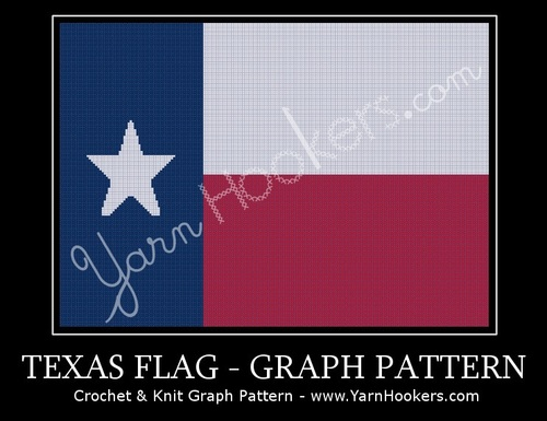 Texas State Flag - Afghan Crochet Graph Pattern Chart by Yarn Hookers.com