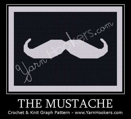 The Mustache - Afghan Crochet Graph Pattern Chart by Yarn Hookers.com
