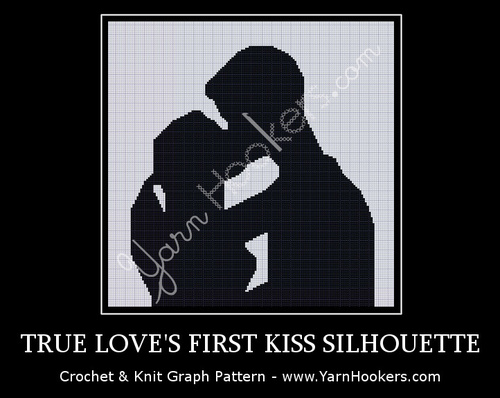True Love's First Kiss Silhouette - Afghan Crochet Graph Pattern Chart by Yarn Hookers.com