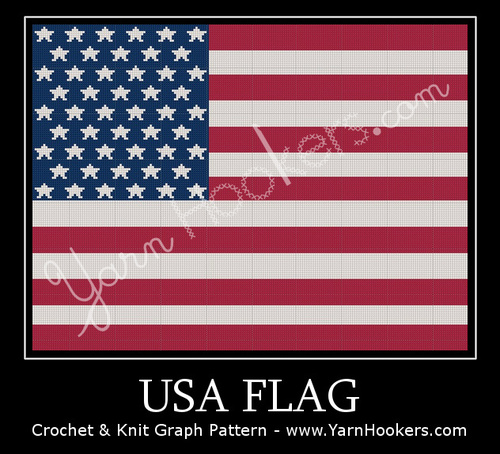 United States of America - USA - Flag - Afghan Crochet Graph Pattern Chart by Yarn Hookers.com