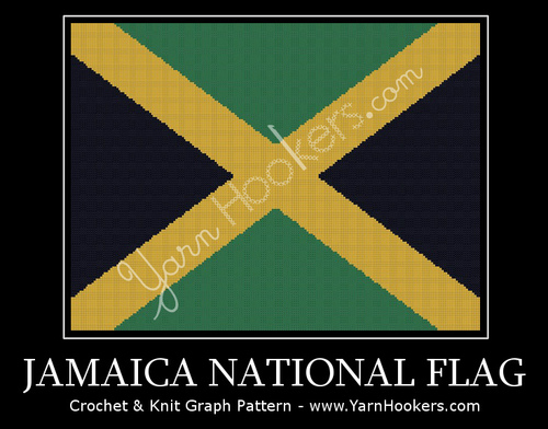 Jamaica National Flag - Afghan Crochet Graph Pattern Chart by Yarn Hookers.com