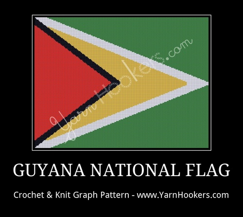 Guyana National Flag - Afghan Crochet Graph Pattern Chart by Yarn Hookers.com