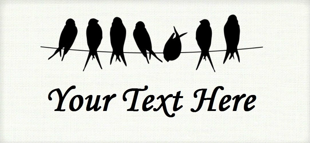 "Birds on a Wire - ""Iron on"" or ""Sew In""  - 100% Cotton Fabric Labels (White)"