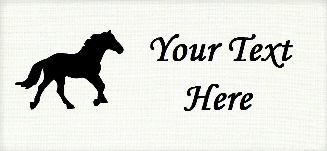 """Black Stallion - """"Iron on"""" or """"Sew In""""  - 100% Cotton Fabric Labels (White)"""