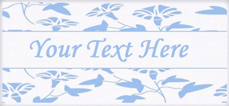 "Japanese Blue Floral - ""Iron on"" or ""Sew In"" - 100% Cotton Fabric Labels (White)"