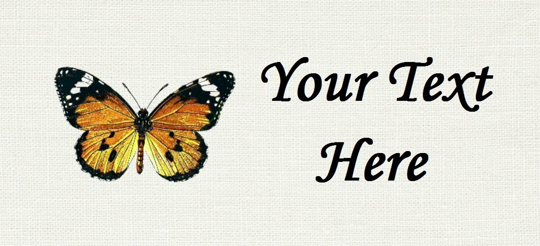 """Monarch Butterfly - """"Iron on"""" or """"Sew In""""  - 100% Cotton Fabric Labels (White)"""
