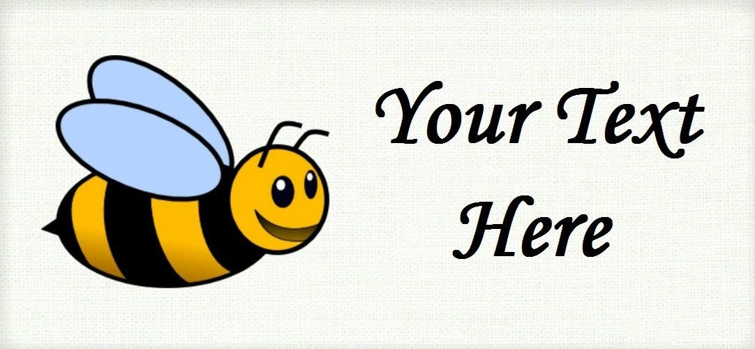 "Bumble Bee - ""Iron on"" or ""Sew In"" - 100% Cotton Fabric Labels (White)"