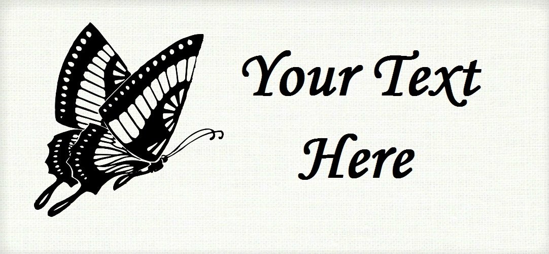 "Butterfly Silhouette - ""Iron on"" or ""Sew In"" - 100% Cotton Fabric Labels (White)"