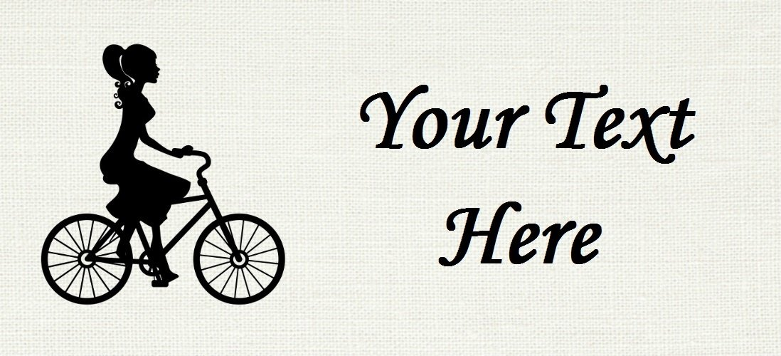 """Diva on Bicycle - """"Iron on"""" or """"Sew In"""" - 100% Cotton Fabric Labels (White)"""