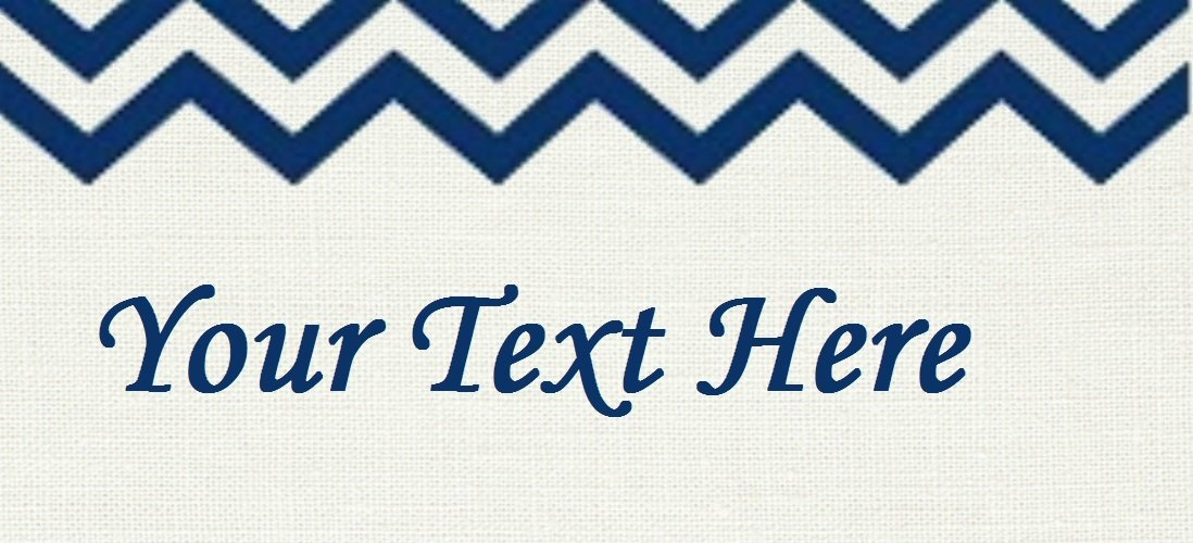 "Blue Chevron Header - ""Iron on"" or ""Sew In""  - 100% Cotton Fabric Labels (White)"