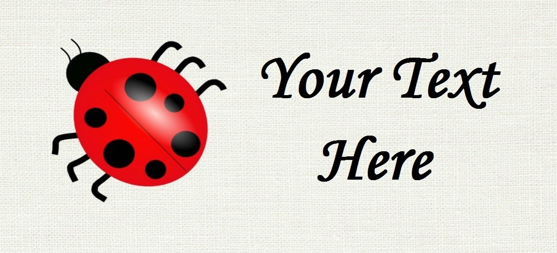 "Red Ladybug - ""Iron on"" or ""Sew In"" - 100% Cotton Fabric Labels (White)"