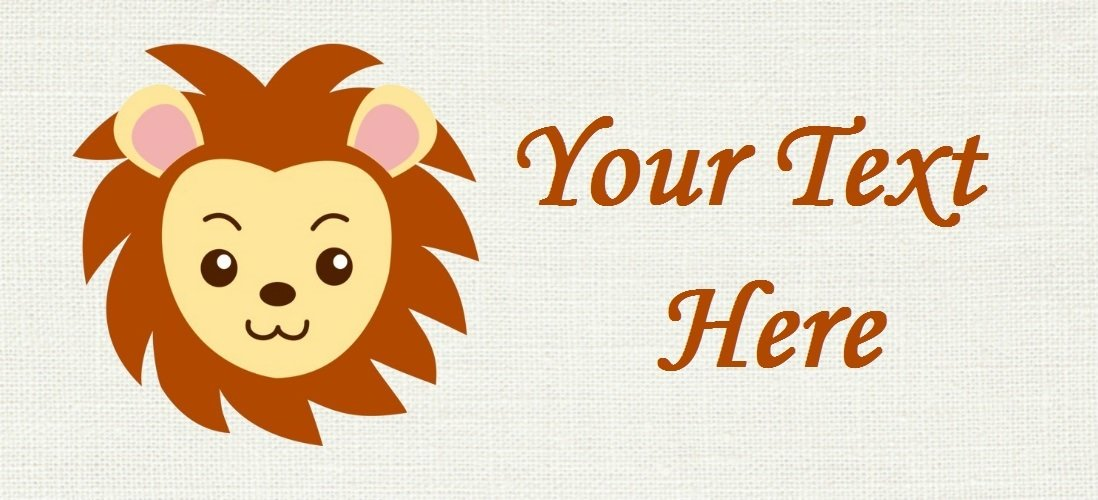 "Lion Face - ""Iron on"" or ""Sew In"" - 100% Cotton Fabric Labels (White)"